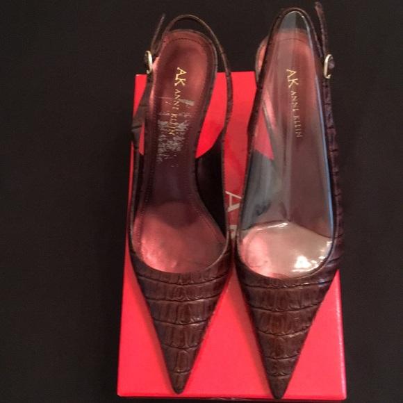 8780e83f9 ... Dark brown Pointy Toe Heels slingback. Anne Klein.  M_5b47a3c62beb791245a1fd02. M_5b47a3dd409c157bede0e8e3.  M_5b47a3ef951996a4e55a4c7a